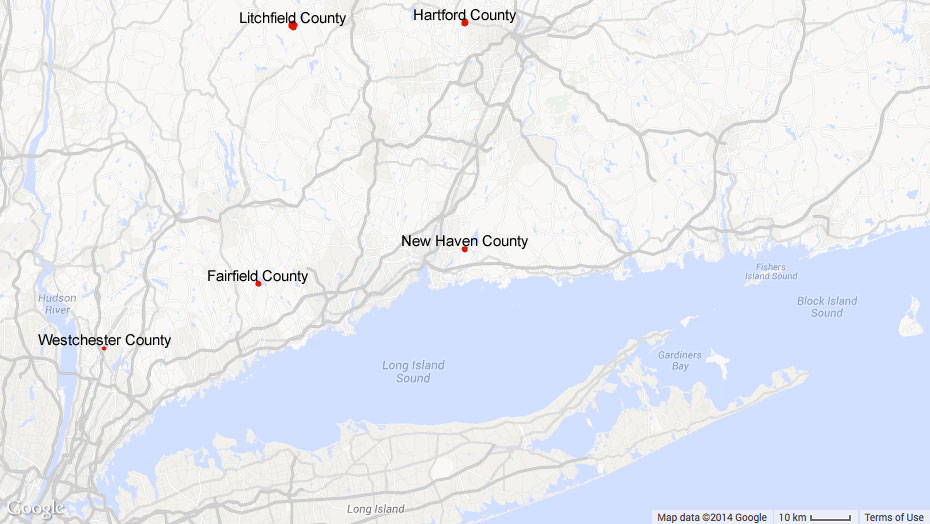 Map of communities served by HomeFront: Fairfield County, Hartford County, Litchfield County, and New Haven County, CT; and Westchester County, NY